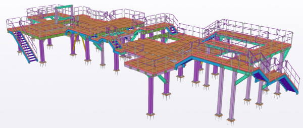supporting steel structure for industrial plant in Slovakia_TEKLA