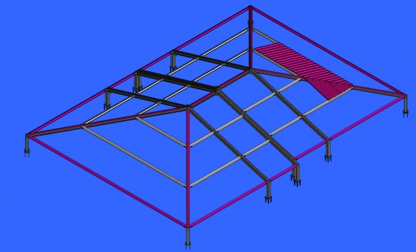 roof with steel structure on existing building