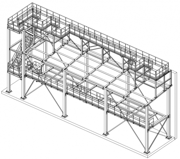 support structure for machinery in a paper industry